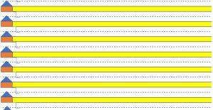 Het blad met fluo schrijflijnen