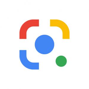 Het logo van Google Lens in de typische Google merkkleuren, geel, blauw, groen en rood.