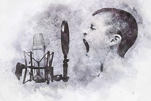 Kind dat zingt voor een micro