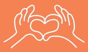 Twee handen die een hart vormen