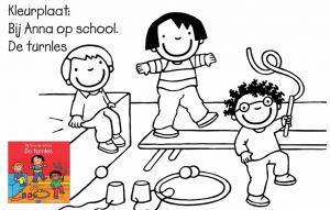 Kleurplaat Anna op school, de turnles
