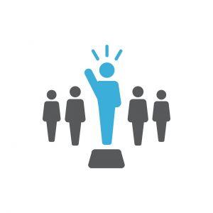 icoon met een baas in het midden tussen anderen