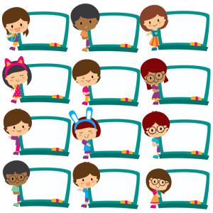 Een illustratie waarop 12 kinderen te zien zijn elk met hun eigen digitale whiteboard.