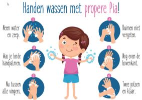 Affiche handen wassen met propere Pia