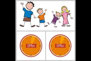 gezin en twee klokjes van 5 minuten