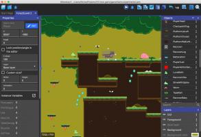 Een scherm van GDevelop waarin je een game kan ontwerpen.