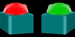 Rode en groene knoppen voor een quiz