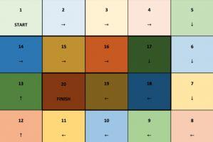 spelbord met gekleurde vakjes