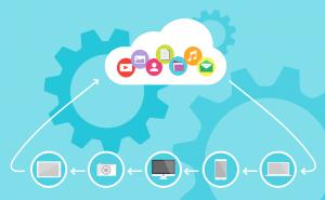 Verschillende devices gekoppeld aan een cloud.