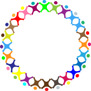 circle with males in rainbow colors