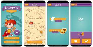 Screenshots when using the Letterprins app