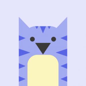 Logo Kapwing - tekening van paarse kat