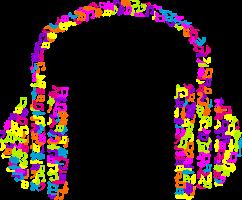 koptelefoon die uit gekleurde muzieknoten bestaat