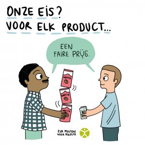 Cartoon Eva Mouton eerlijke handel