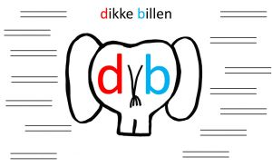 Afbeelding van de dikke billen van een olifant met daarop de letters d en b