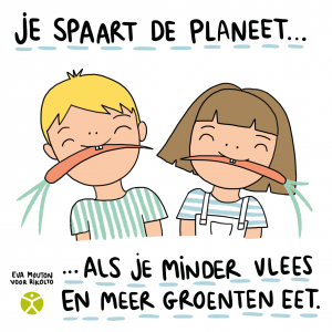 Cartoon Eva Mouton plantaardig