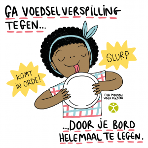Cartoon Eva Mouton voedselverspilling