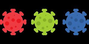 drie gekleurde virussen