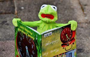 Kermit leest in een prentenboek
