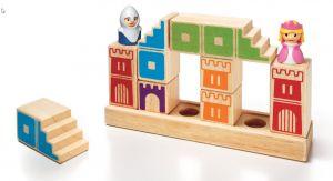 Enkele blokken en figuren uit het spel Camelot