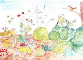 Tekening uit het verhaal de Vrolijke Salade