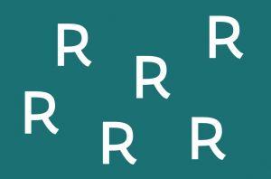 witte letters R op een blauwe achtergrond