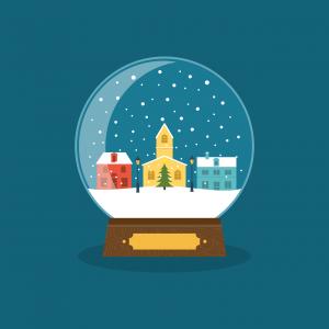 sneeuwbal met huisjes in