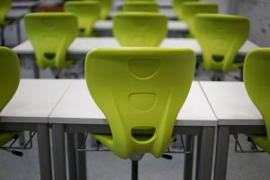 classroom with green chairs