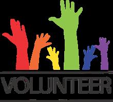 opgestoken handen boven het woord volunteer