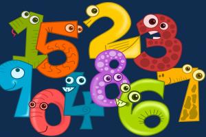 cijfers 1 tot 9 met een gezichtje op