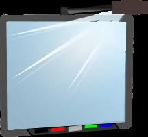 Een tekening van een digitaal schoolbord met een projector erbij.