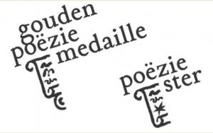 Het logo van de Gouden Poëziemedaille en Poëziester.