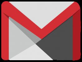 Het logo van Gmail. Een omslag met rode randjes.