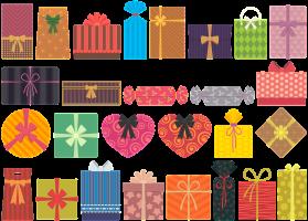 Verschillende kleurrijke pakjes