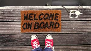 deurmat met tekst, welcome on board