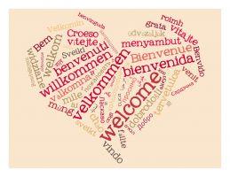 wolk met begroeting in verschillende talen