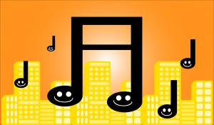 muzieknoten met een lachend gezicht