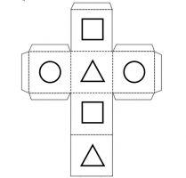 Dobbelsteen met op elke vlak een verschillende vorm