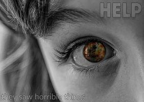 Foto aangezicht meisje met vermelding woord help