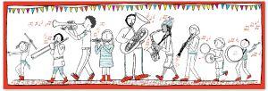 Een groot speldoek illustreert het verhaal over 'De Hinkende Harmonie' dat het begin vormt van een groot harmonieavontuur.