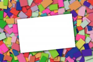witte rechthoek op een achtergrond van gekleurde rechthoekjes