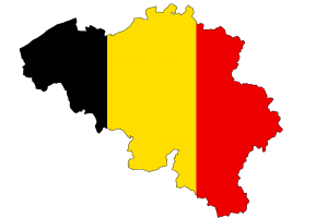 outline of Belgium in the color of the Belgian flag