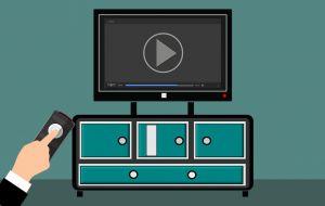 Illustratie van videoscherm op kast