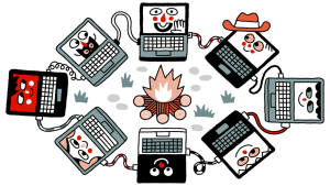 illustratie van laptops die aan elkaar verbonden zijn