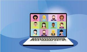 computer, webinar, mensen