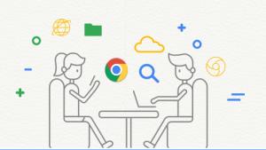 Illustratie van twee zittende figuurtjes die samenwerken via ICT