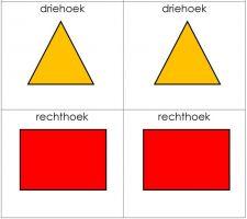kaartjes met driehoek en rechthoek