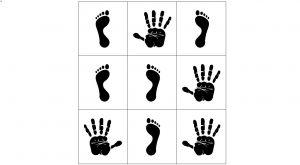 Voorbeeld uit het hinkelparcours met afbeeldingen van handen en voeten - links en rechts