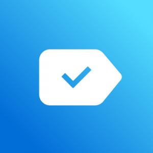 Het logo van Any.do, een witte wegwijzer met een blauw vinkje erop.