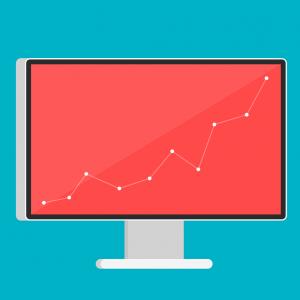 pc-scherm, grafiek bedrijfsresultaten
